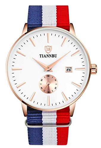 bellesie Wasserdicht Rose Gold Herren superduenn Chronograph Quarz Handgelenk Uhren mit Nylon Band Datum