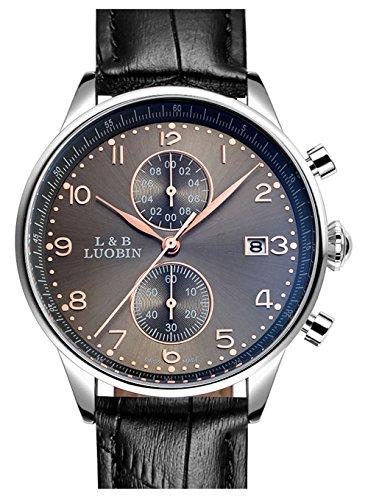 bellesie Wasserdicht Braun Zifferblatt Herren Quarz Handgelenk Uhren Chronograph Stoppuhr mit Schwarz Leder Datum