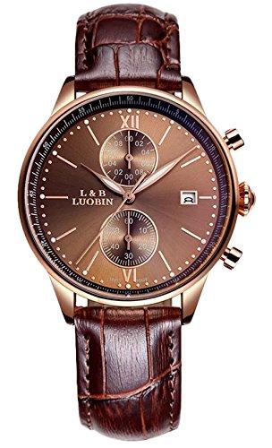 bellesie Wasserdicht Kaffee Zifferblatt Herren Quarz Handgelenk Uhren Chronograph Stoppuhr mit Braun Leder Datum