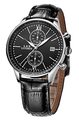 bellesie Wasserdicht Schwarz Zifferblatt Herren Quarz Handgelenk Uhren Chronograph Stoppuhr mit Schwarz Leder Datum