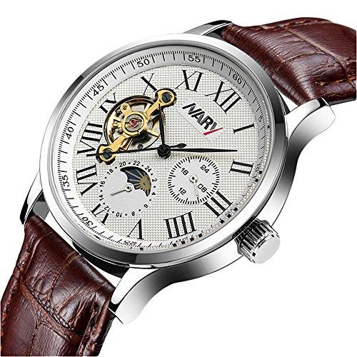 bellesie Wasserdicht Casual Braun Herren Chronograph Edelstahl Skelett automatische mechanische Armbanduhr