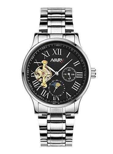 bellesie Wasserdicht Casual Herren Chronograph Schwarz Zifferblatt Edelstahl Skelett automatische mechanische Armbanduhr