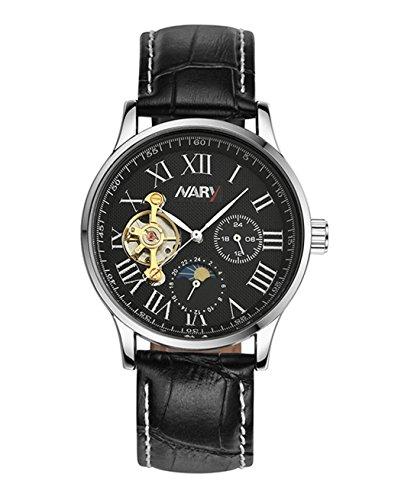 bellesie Wasserdicht Casual Leder Band Schwarz Zifferblatt Edelstahl Skelett automatische mechanische Armbanduhr