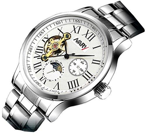 bellesie Wasserdicht Casual Herren Chronograph Weiss Zifferblatt Edelstahl Skelett automatische mechanische Armbanduhr
