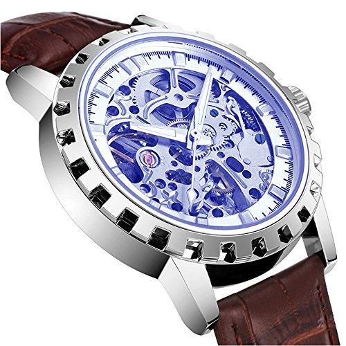 bellesie Wasserdicht Casual Braun Leder Herren Edelstahl Skelett automatische mechanische Armbanduhr