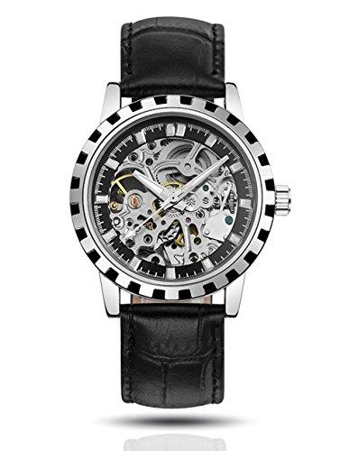 bellesie Wasserdicht Casual Schwarz Leder Herren Edelstahl Skelett automatische mechanische Armbanduhr