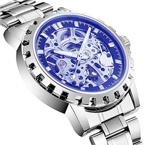 bellesie Wasserdicht Casual Herren Edelstahl Skelett automatische mechanische Armbanduhr