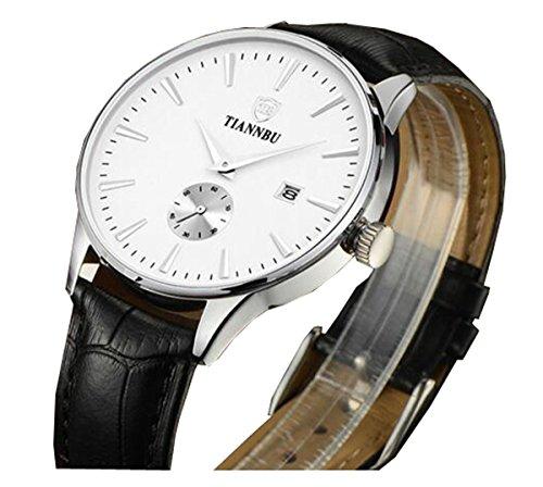 bellesie Wasserdicht silberfarbenes Herren superduenn Chronograph Quarz Handgelenk Uhren mit Schwarz Leder Datum