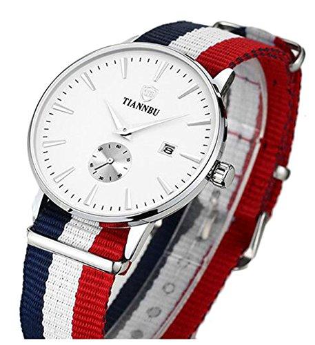 bellesie Wasserdicht silberfarbenes Herren superduenn Chronograph Quarz Handgelenk Uhren mit Nylon Band Datum