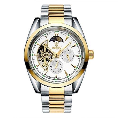 bellesie Wasserdicht Casual Herren Bicolor Weiss Zifferblatt Edelstahl Skelett automatische mechanische Armbanduhr