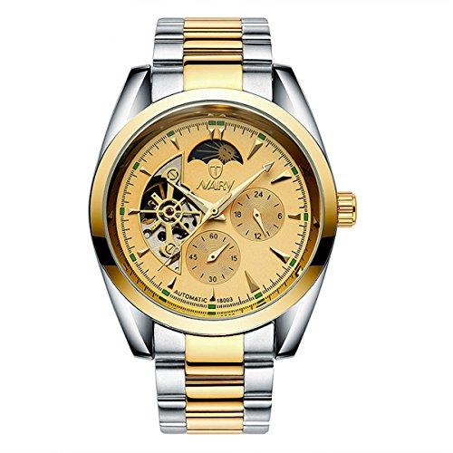 bellesie Wasserdicht Casual Herren Bicolor Gold Zifferblatt Edelstahl Skelett automatische mechanische Armbanduhr