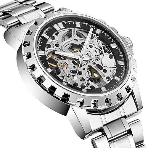 bellesie Wasserdicht Casual Schwarz Zifferblatt Herren Edelstahl Skelett automatische mechanische Armbanduhr