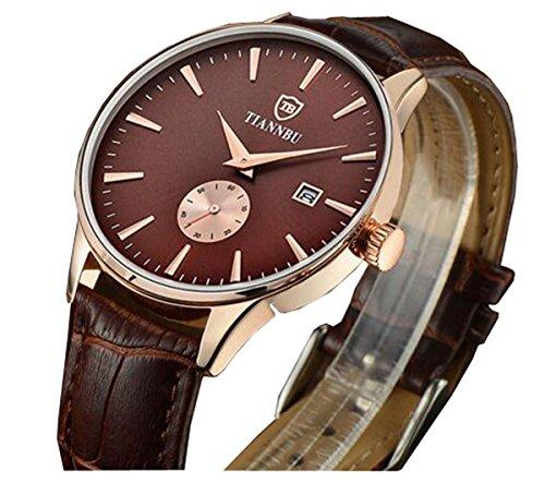 bellesie Wasserdicht Kaffee Zifferblatt Herren superduenn Chronograph Quarz Handgelenk Uhren mit Kaffee Leder Datum