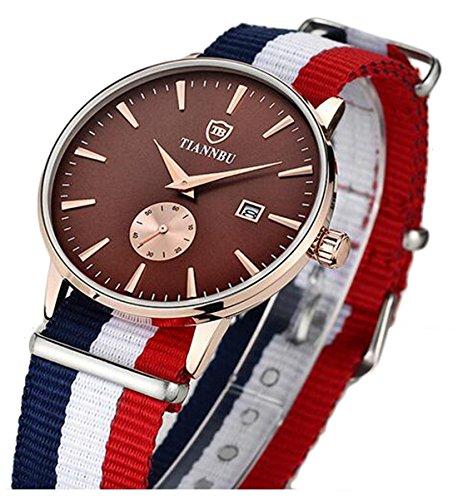 bellesie Wasserdicht Kaffee Zifferblatt Herren superduenn Chronograph Quarz Handgelenk Uhren mit Nylon Band Datum