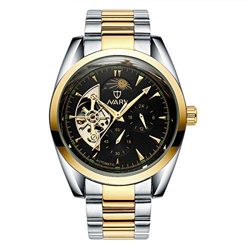 bellesie Wasserdicht Casual Herren zweifarbig schwarz Zifferblatt Edelstahl Skelett automatische mechanische Armbanduhr