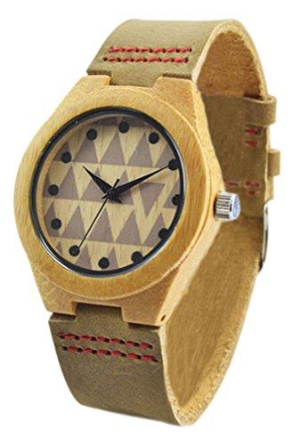 EyekeppeHerren laessig Sport Mode Bambusholz Uhr mit echtem Rindsleder Armbanduhren