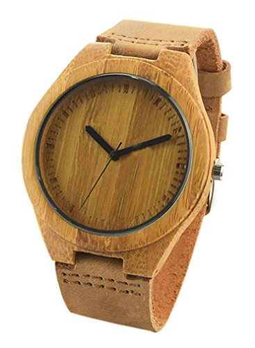 Eyekepper Bambus Holz Uhr mit echtem Braun Kuh Leder Buegel Quarz Analog Laessige Holz Uhren