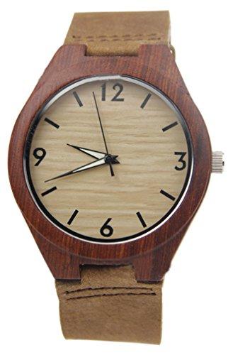 Eyekepper Bambus Holz Uhr mit Lederband Quarz Armbanduhr Holz