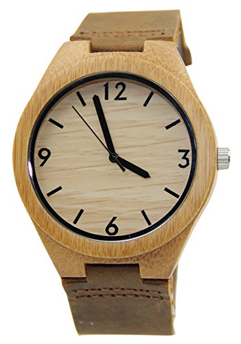 Eyekepper Bambus Holz Uhr mit Lederband Quarz Holz Uhren