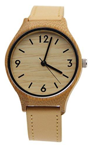 Eyekepper Bambus Holz Uhr mit Braun Leder Band Quarz Uhren