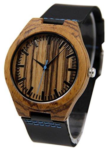 Eyekepper Bambus Holz Uhr mit echtem Leder Band Quarz Armbanduhren