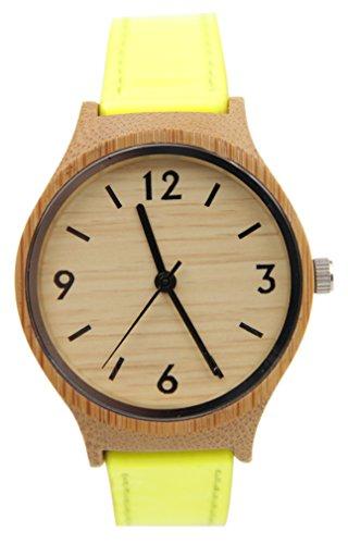 Eyekepper Bambus Holz Uhr mit Gelb Leder Band Quarz Uhren