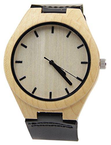 Eyekepper Bambus Holz Uhr mit Lederband beilaeufige Uhr