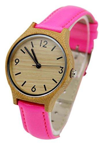 Eyekepper Bambus Holz Uhr mit Rosen Rot Leder Band Quarz Uhren