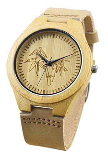 Eyekepper Bambusse Uhr mit Braun Lederband Bambus Uhr Quarz Lederarmband Mann Uhren