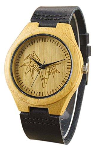 Eyekepper Bambusse Uhr mit Schwarz Lederband Bambus Uhr Quarz Lederarmband Mann Uhren