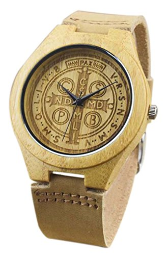 Eyekepper St Benedikt Exorzismus Bambusse Uhr mit Braun Lederband Bambus Uhr Quarz Lederarmband Mann Uhren