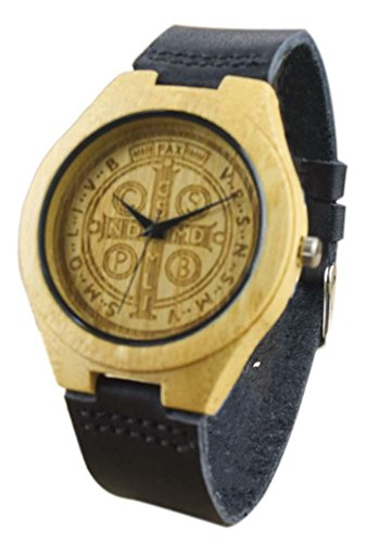 Eyekepper St Benedikt Exorzismus Bambusse Uhr mit Schwarz Lederband Bambus Uhr Quarz Lederarmband Mann Uhren