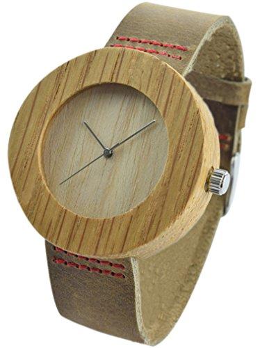 Eyekepper Holz Uhr mit echtem braun Lederarmband Retro runde