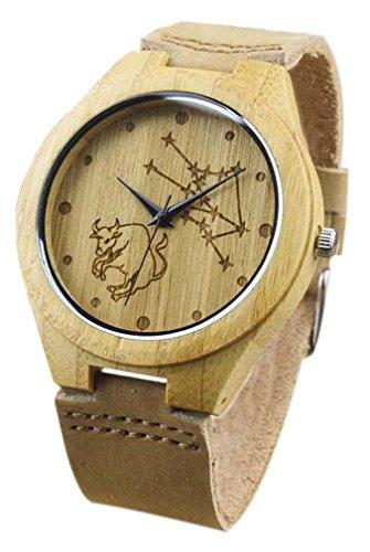 Eyekepper Stier geschnitzte Bambusse Uhr mit Braun Lederband Bambus Uhr Holz Armbanduhren