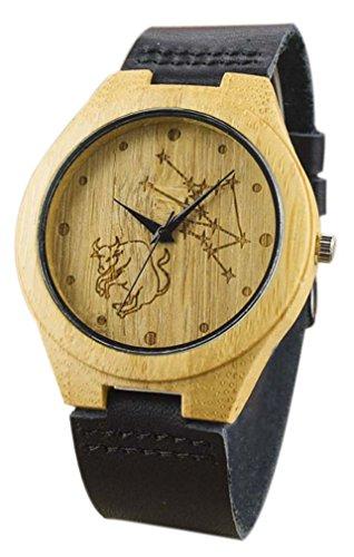 Eyekepper Stier geschnitzte Bambusse Uhr mit Schwarz Lederband Bambus Uhr Holz Armbanduhren Herren Uhren