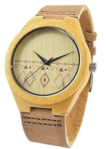 Eyekepper Herren laessig Japan Bewegung 2035 Bambus Holz Uhren mit echtem Leder