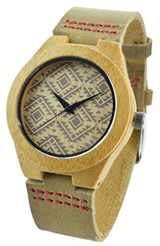 Eyekepper Herren Holz Uhr mit echtem braun Lederarmband Quarz Analog mit Qualitaet Miyota Bewegung
