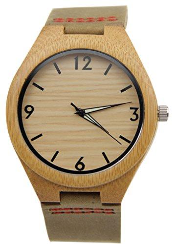 Eyekepper Holz Uhr mit echtes Leder Band Quarz Armbanduhren