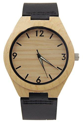 Eyekepper Holz Uhr mit echtes Leder Band Quarz beilaeufige Uhr