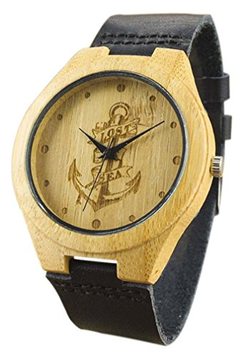 Eyekepper Piratenschiff Gravierte Haken Bambusse Uhr mit schwarz Lederband Bambus Uhr Quarz Lederarmband Mann Uhren