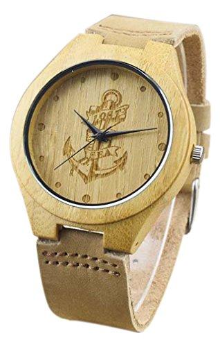 Eyekepper Piratenschiff Gravierte Haken Bambusse Uhr mit Braun Lederband Bambus Uhr Quarz Lederarmband Mann Uhren