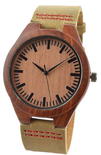 Eyekepper Rot Sandelholz Herren Holz Uhr mit weichem Lederarmband Holz Armbanduhr