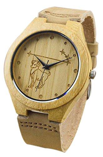 Eyekepper Widder schnitzte Bambusse Uhr mit Braun Lederband Bambus Uhr Holz Armbanduhren Herren Uhren