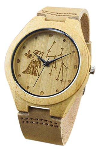 Eyekepper Jungfrau schnitzte Bambusse Uhr mit Schwarz Lederband Bambus Uhr Holz Armbanduhren Herren Uhren