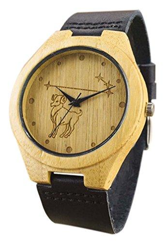 Eyekepper Widder schnitzte Bambusse Uhr mit Schwarz Lederband Bambus Uhr Holz Armbanduhren Herren Uhren