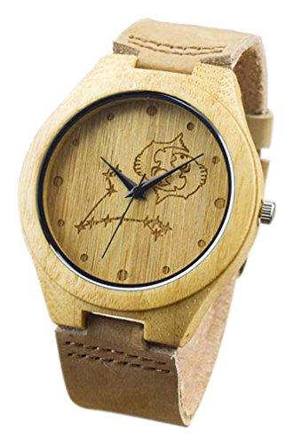 Eyekepper Fische schnitzte Bambusse Uhr mit Braun Lederband aus Holz Armbanduhren Herren Uhren