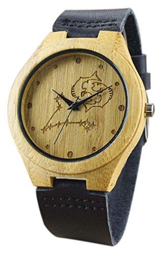 Eyekepper Fische schnitzte Bambusse Uhr mit Schwarz Lederband aus Holz Armbanduhren Herren Uhren