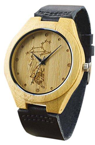 Eyekepper Loewe schnitzte Bambusse Uhr mit Schwarz Lederband aus Holz Armbanduhren