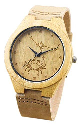Eyekepper Krebs schnitzte Bambusse Uhr mit Braun Lederband aus Holz Armbanduhren Herren Uhren