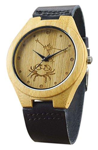 Eyekepper Krebs schnitzte Bambusse Uhr mit Schwarz Lederband aus Holz Armbanduhren Herren Uhren